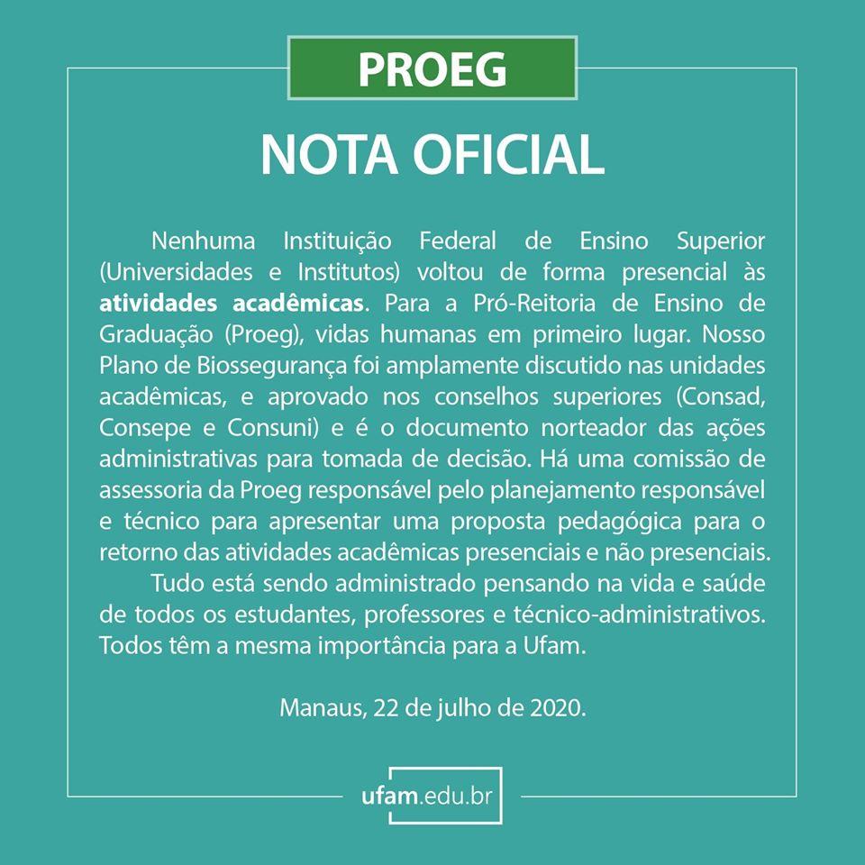 Nota Oficial da Pró-reitoria de Ensino de Graduação - PROEG