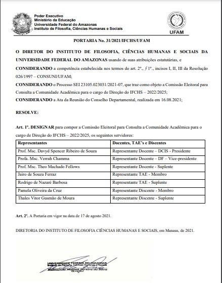 PORTARIA No. 31/2021/IFCHS/UFAM - Comissão Eleitoral para Consulta a Comunidade Acadêmica para o cargo de Direção do IFCHS – 2022/2025