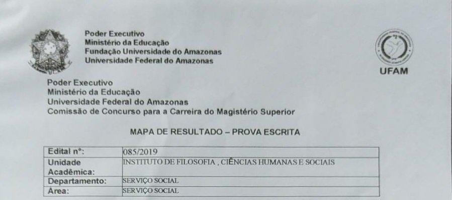 Resultado da Prova Escrita - Edital 85/2019 - Serviço Social